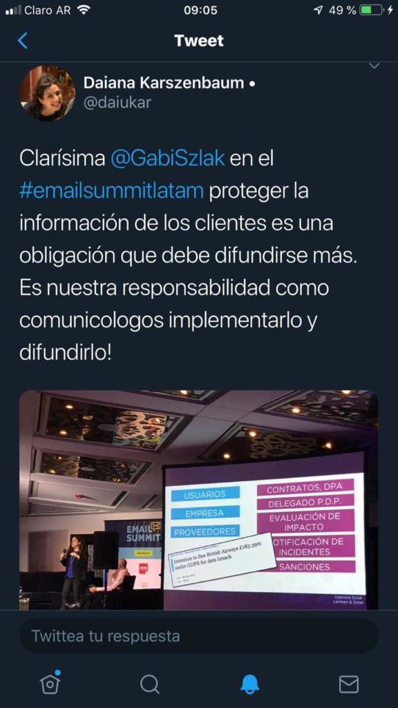 Gabriela Szlak spoke on Data Protection and GDPR at the Argentine Direct Marketing Association (AMDIA) Email Summit, with Outstanding Possitive Feedback from the Audience