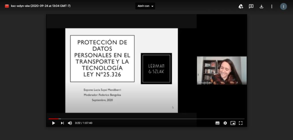 Lucia Suyai Mendiberri disertó acerca de la Protección de Datos Personales en el transporte y la Tecnología