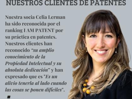 Celia Lerman es reconocida por el ranking I AM PATENT por su práctica en patentes
