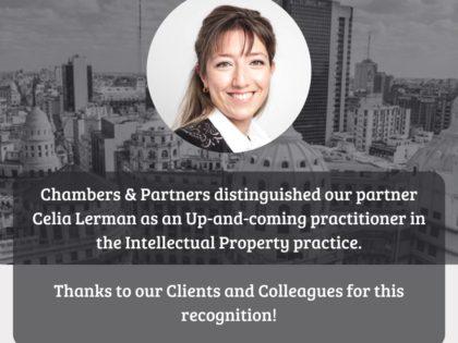 Chambers & Partners destacó a nuestra socia Celia Lerman como up-and-coming practitioner en el área de Propiedad Intelectual